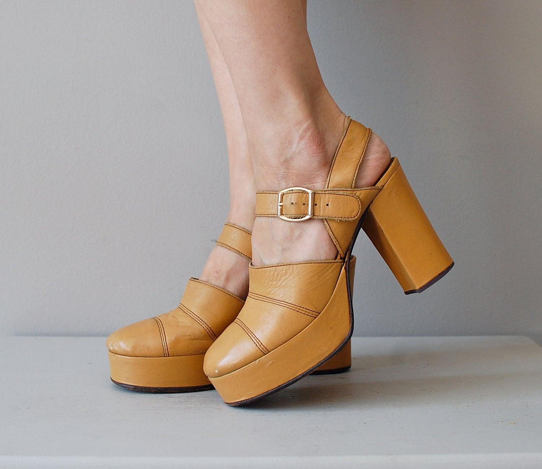platform shoes 1970s platforms heels mustard by deargolden