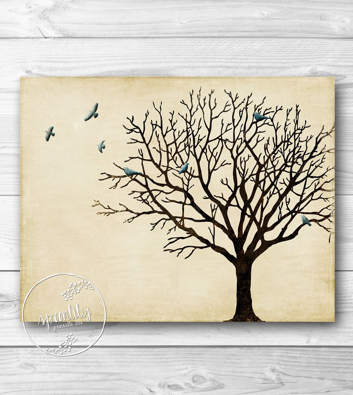 Tree wall art winter tree silhouette vintage by spoonlily - Vintage inspired wall art ...