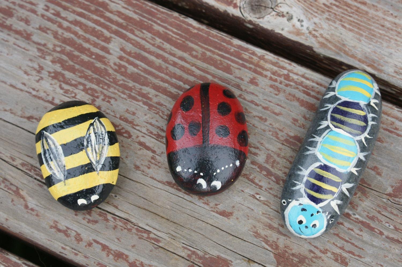 Hand painted stone garden buddies ladybug bee by - Hand painted garden stones ...