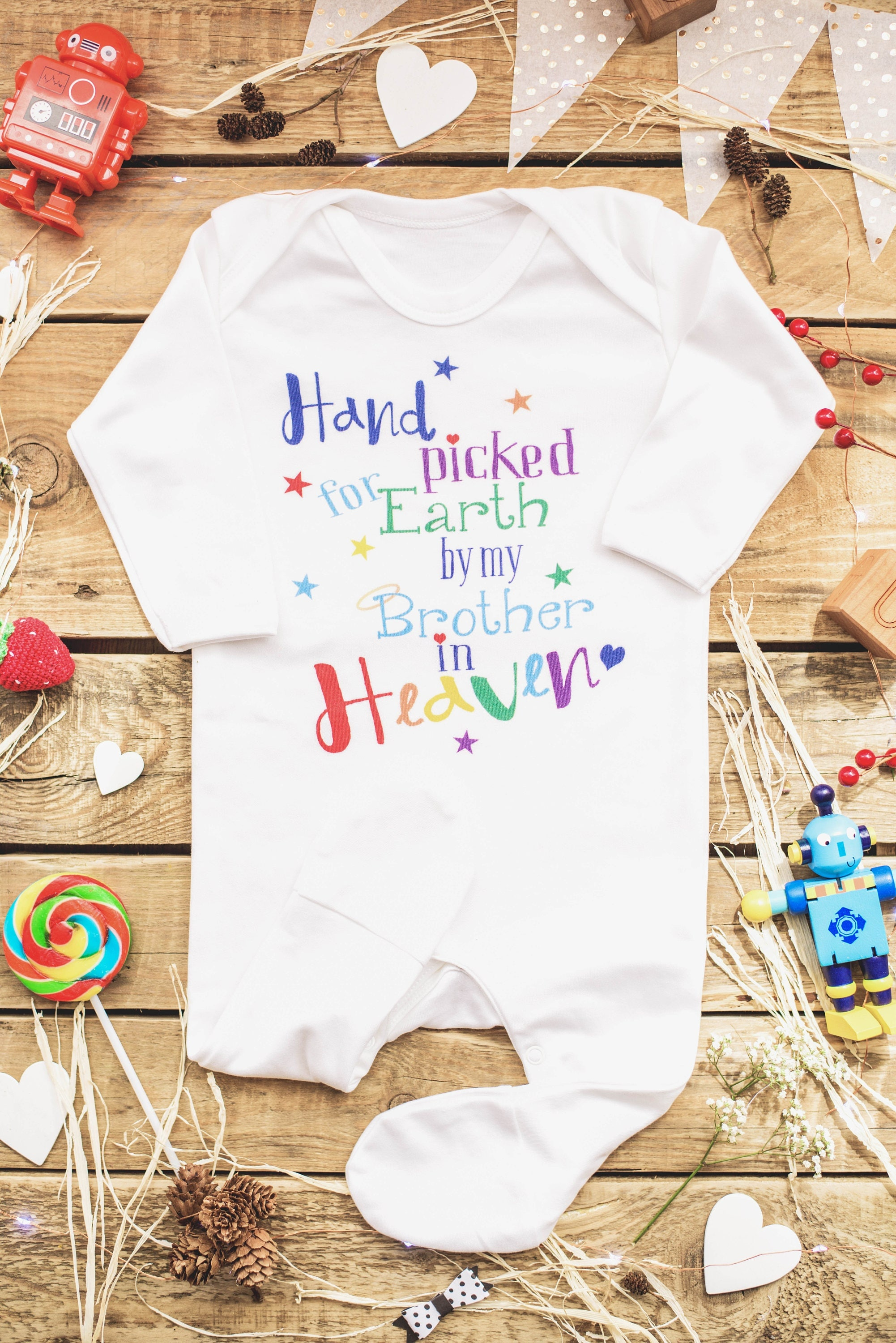 Hand Picked for Earth  by my Brother in Heaven Footed Romper With Angel Wings Rainbow baby One Piece Big Brother Angel Rainbow Baby