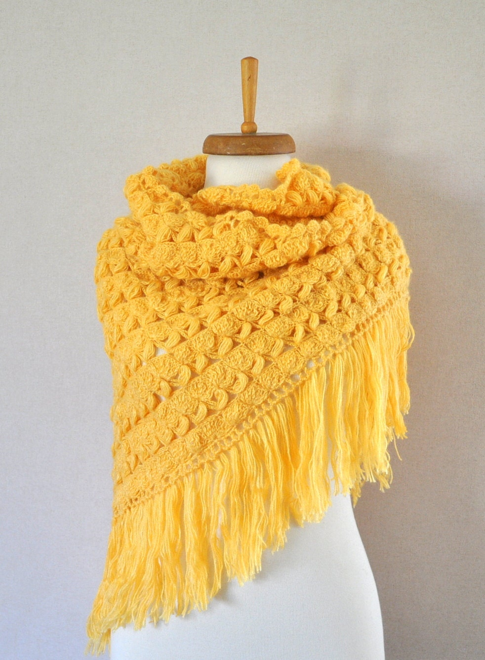 Crocheted shawl Yellow shawl Mohair Shawl Crochet shawl Yellow Bridal Shawl