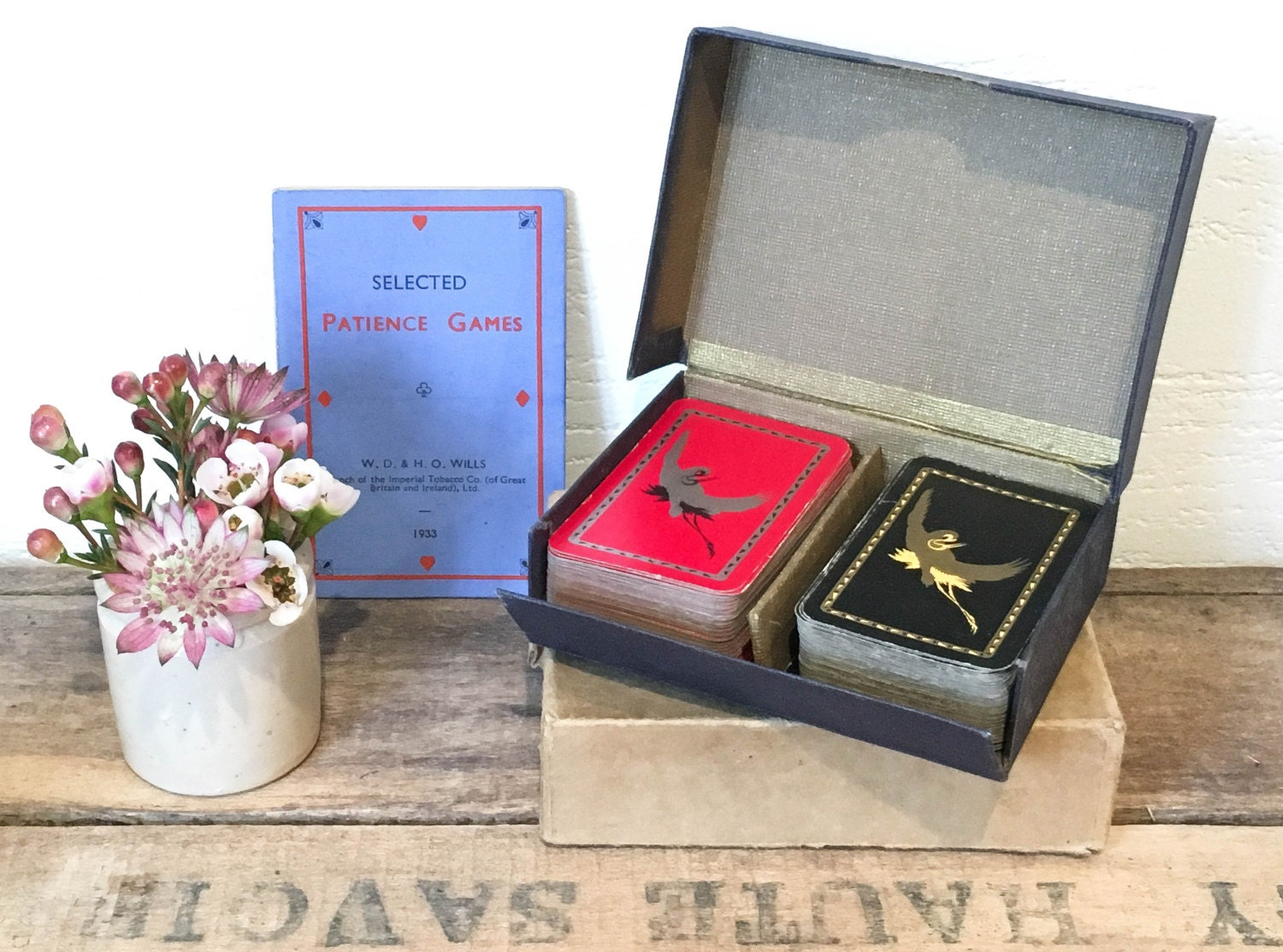 Vintage 1930s Wills Mini Patience Cards in Box Cigarette Promotion Card Games Boxed Card Sets
