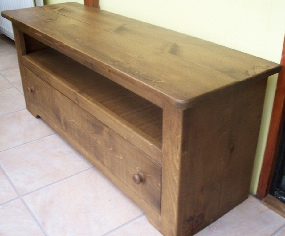 Rustic plank Furniture NEW Real Solid Wood Tv Cabinet Stand Entertainment Unit With Drawer Rustic Plank Pine Furniture rustic pine furniture