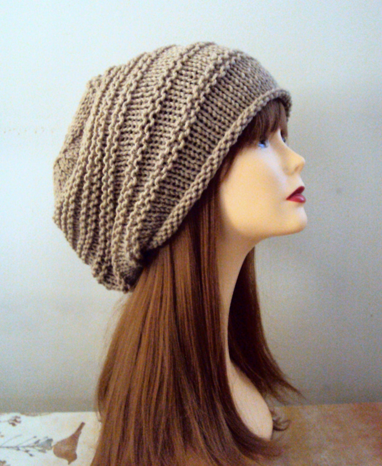Baggy Hat Knitting Pattern : Unisex Baggy Hat Chunky Taupe Celebrity Hat Women by GrahamsBazaar