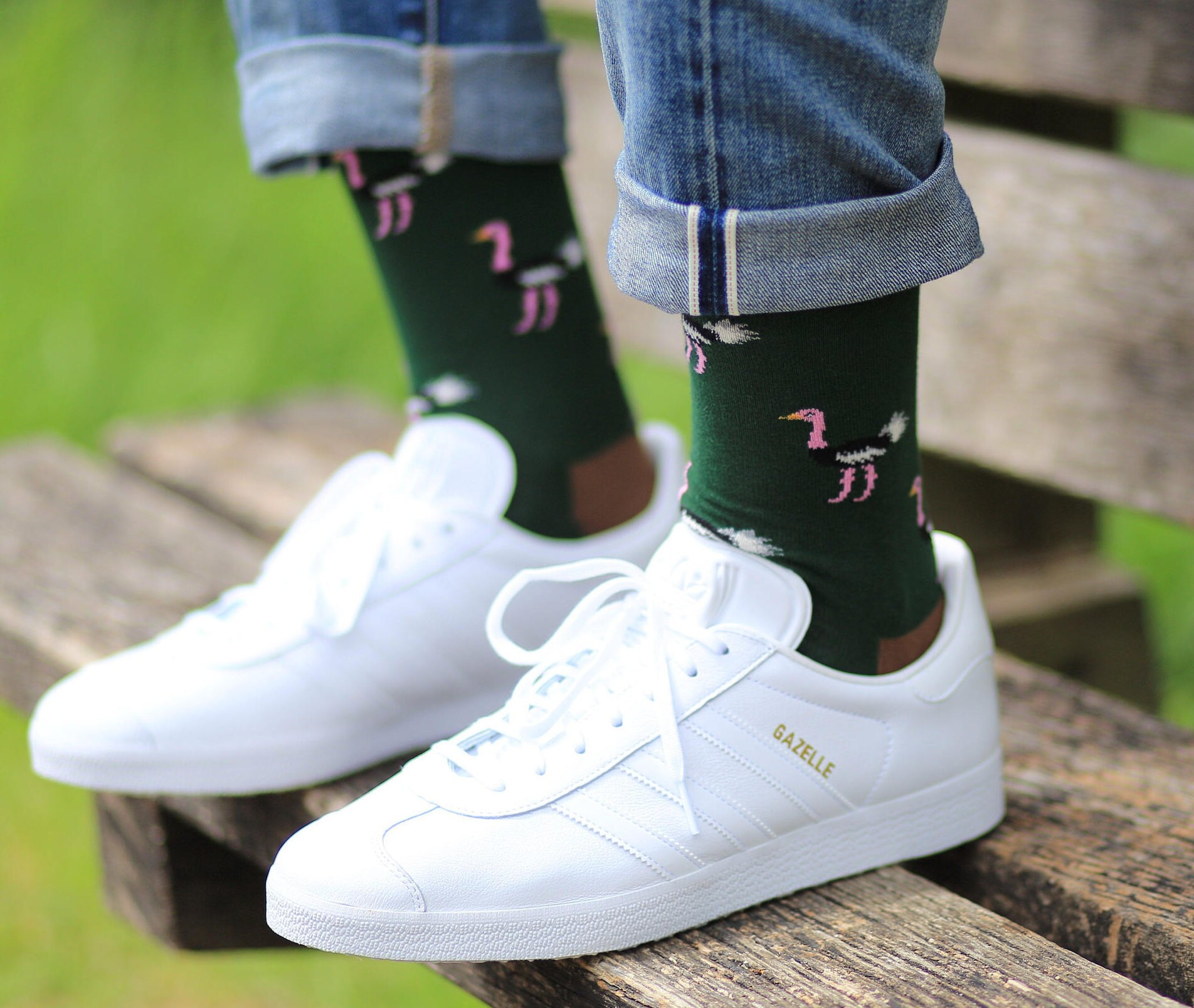Ostrich socks  Fathers day gift  animal socks  green socks  cool socks  colourful socks  men socks  Gift socks   Vintage socks