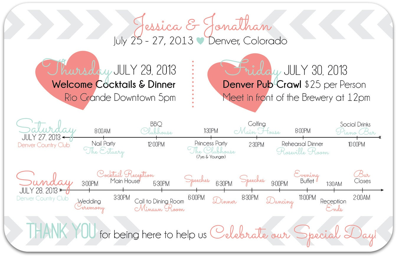 Items similar to CUSTOM Wedding Day or Weekend Schedule & Timeline ...
