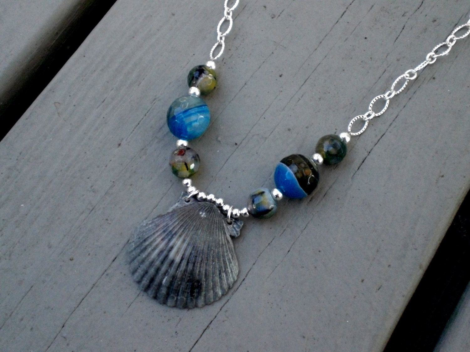 Stormy Seas - Natural Grey Black Sea Scallop & Blue Vein Agate bead silver chain necklace - exotic beach jewelry - phoebemoll