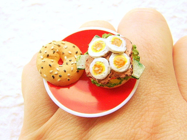 Miniature Food Ring Sandwich Food Jewelry