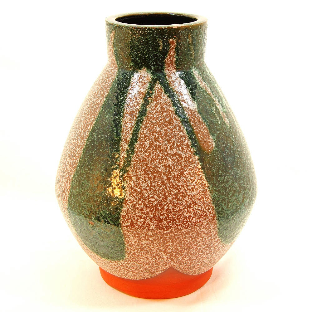 Terracotta Color Block Vase with Tan / Taupe Glaze and Green Free-Form Color Blocks, Textured Surface, Unsigned Vase, ca. 1970s from ZoeDesignsVintage on etsy.com