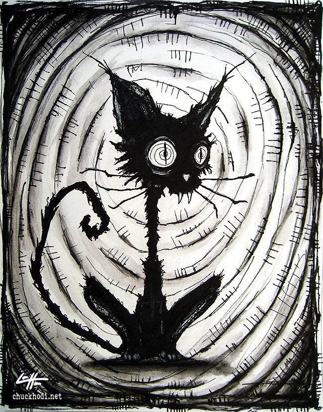 Print 8x10 Black Cat 3 Halloween Cats Stray Spooky By Chuckhodi