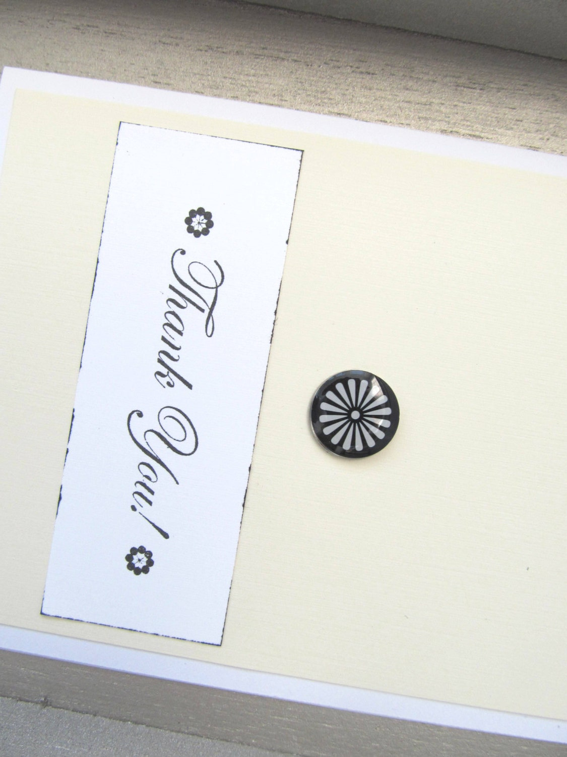 Thank You Card - Handmade Card - Hand Stamped Card - Black and White Accents - Pale Yellow - Modern Look - Simple and Clean Style - PrettyByrdDesigns