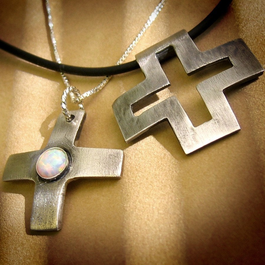 his n hers silver cross pendant necklaces by