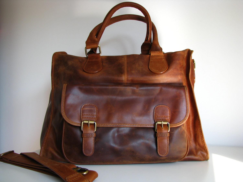 Leather Weekender Holdall Travel Bag Laptop Bag Brown