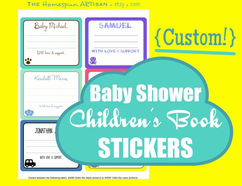 items similar to baby shower book labels