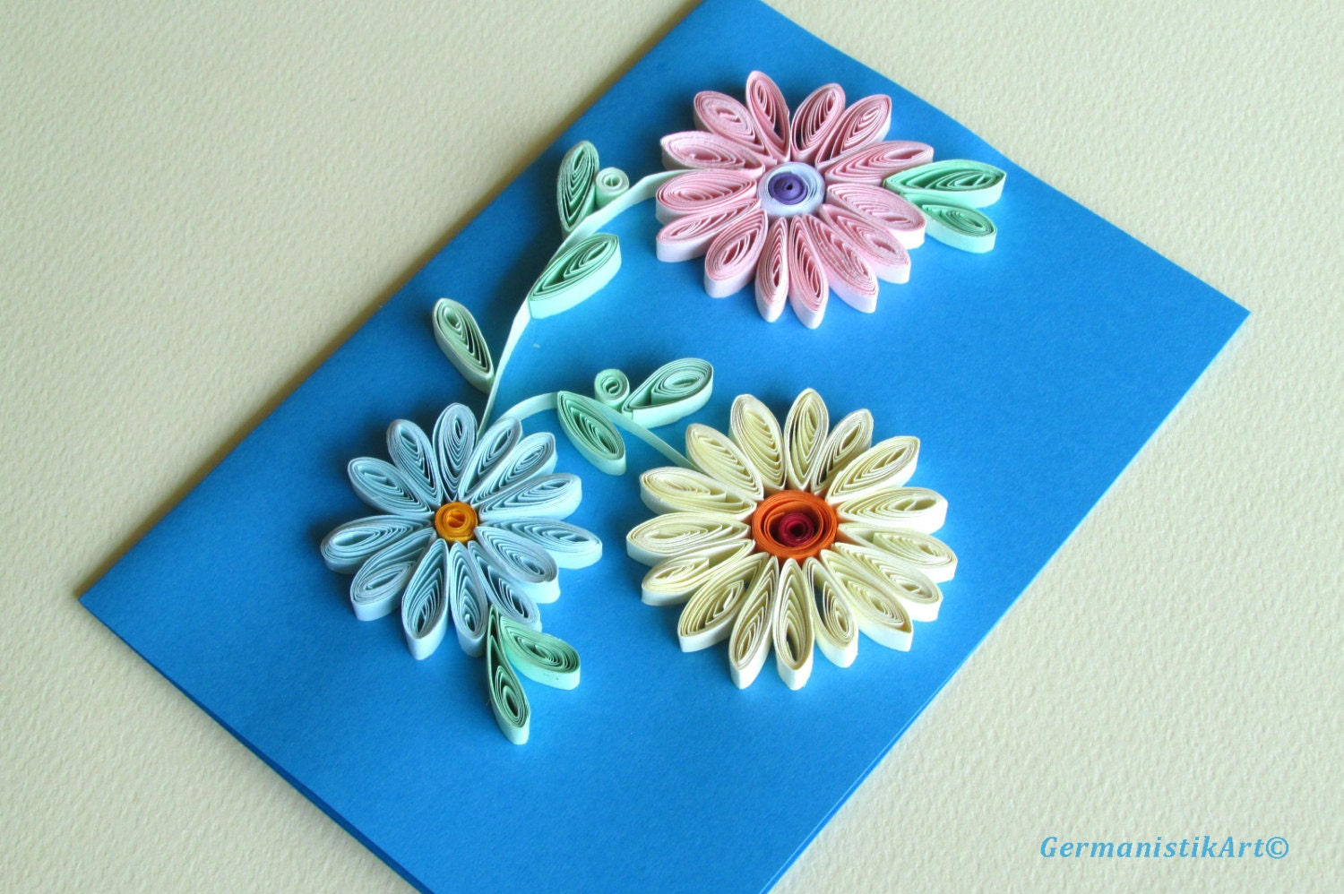 Blah to tada paper quilled cards flowers quilling card with quilled flowers flowers handmade quilled paper card mightylinksfo