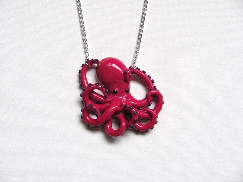 magenta Octopus necklace