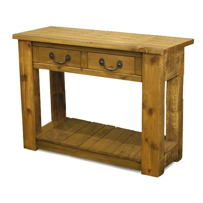 Rustic plank Furniture New Real Solid Wood Chunky Style Rustic Plank Pine sawn Furniture Console Hall Side Table with shelf and 2 drawers