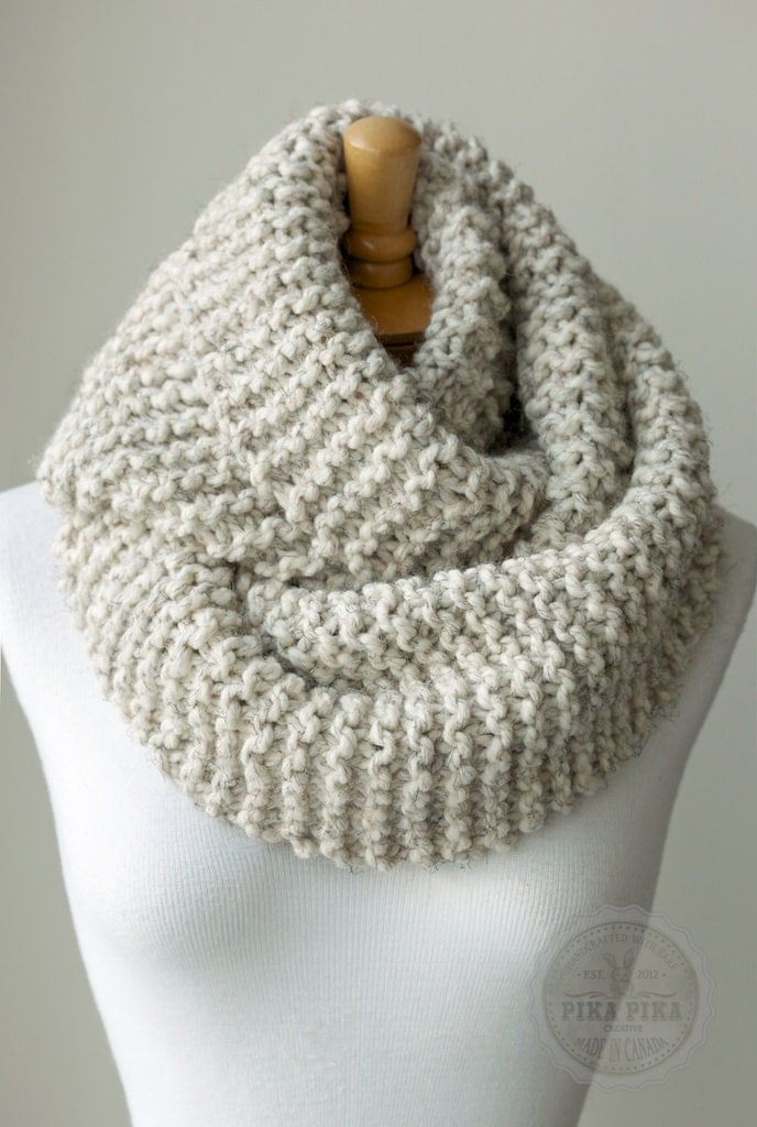 Knitting Pattern For Eternity Scarf : Knit scarf, chunky knitted infinity scarf in Pale Brown or Beige, circle scar...