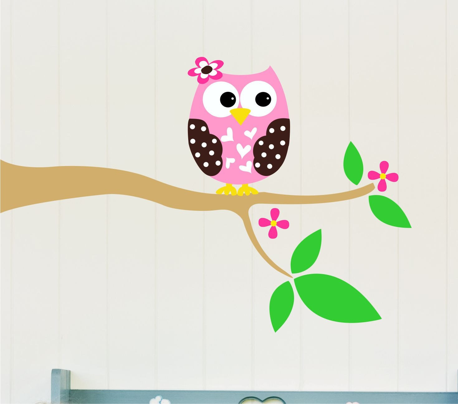 Childrens wall decals owl wall decal owl vinyl by lucylews for Childrens wall mural stickers