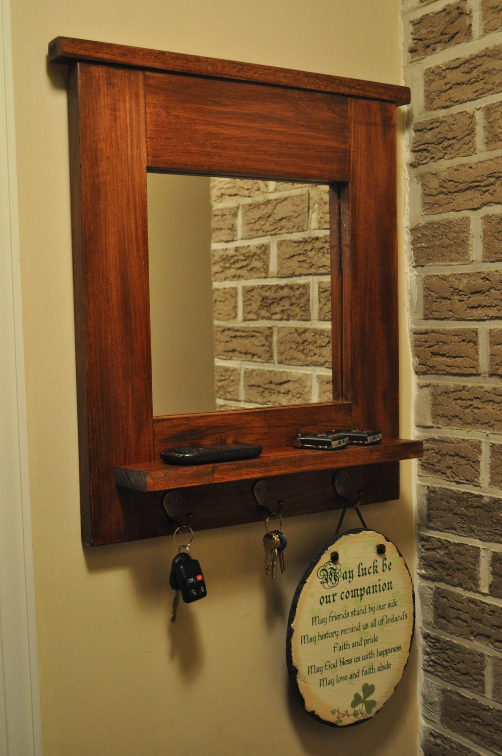 Entryway mirror with key hooks natural interior design for Hallway mirror and shelf