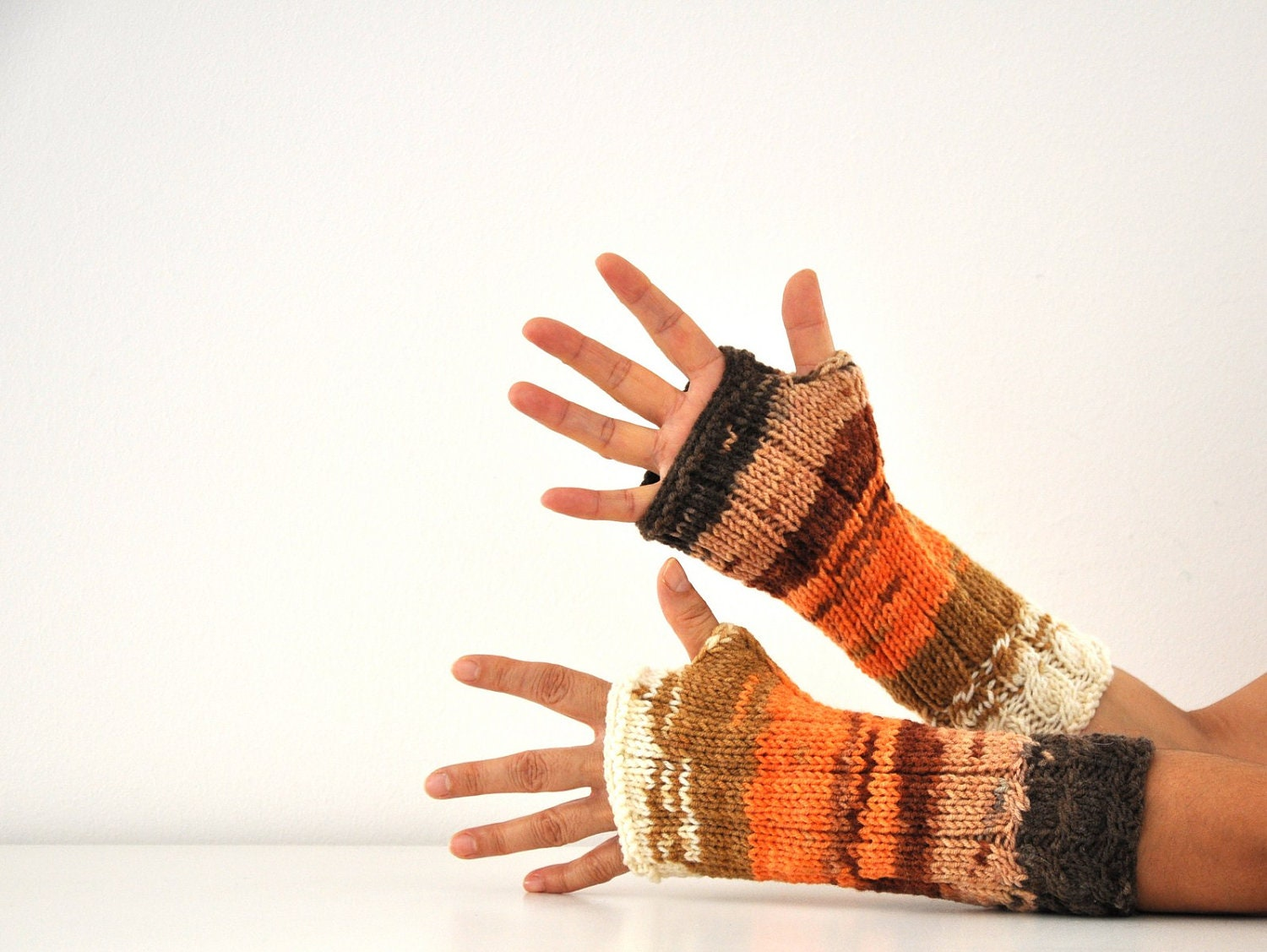 Long Fingerless Gloves Armwarmers Mittens Brown Orange Ivory Multicolor Hand Knit Autumn Accessories Fall Fashion - reflectionsbyds