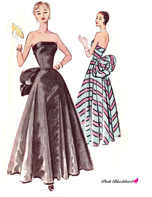 50s evening dress pattern 50s wedding gown by pinkblackbird