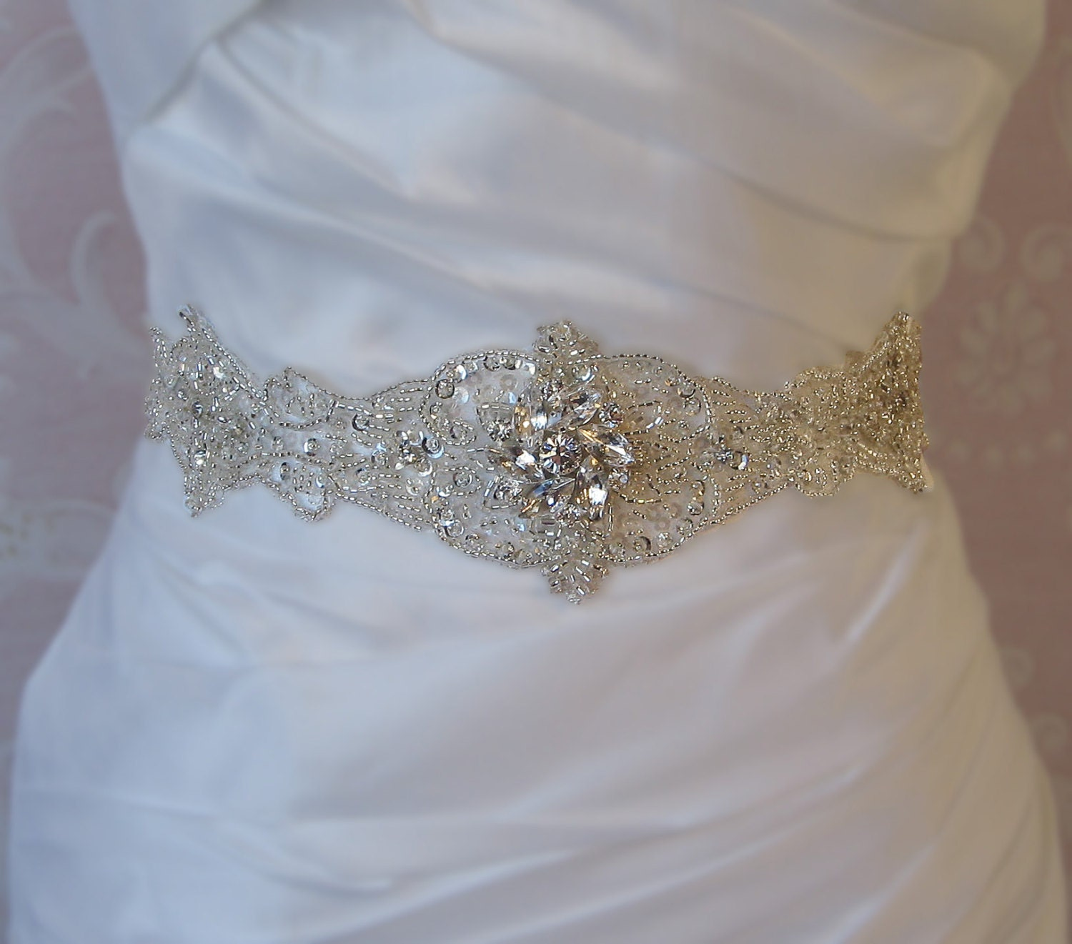 Crystal Rhinestone Sash, Bridal Sash, Beaded Wedding Belt - JOCELYN