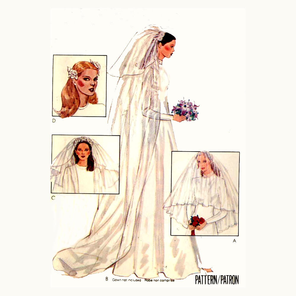 Wedding Veils And Headpieces Patterns: 70s Bridal Veils And Headpieces Sewing Pattern McCalls By