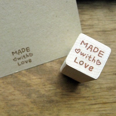 Wooden Rubber Stamp - Heart Made With Love Stamp