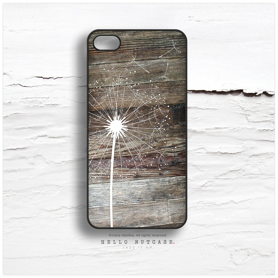 iPhone 4 and 4S case Dandelion on Wood Texture, Floral iPhone 4 Cover, Wood iPhone 4 Case, Dandelion iPhone 4 Case I52 - HelloNutcase