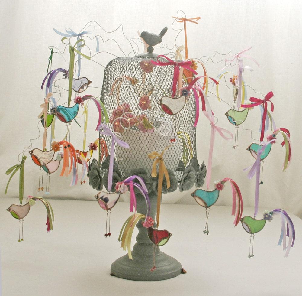 Little Dandy Bird no.66 stained glass bird suncatcher