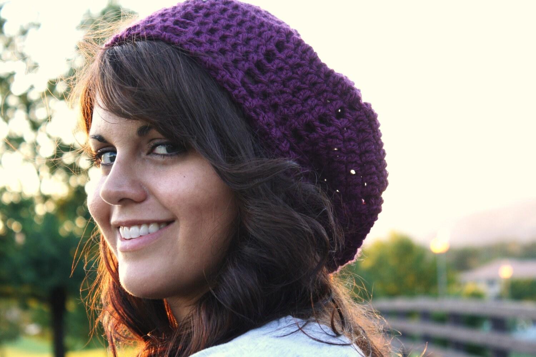 Crochet Beret Slouchy Hat- Plum