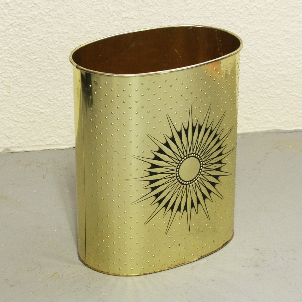 Vintage Trash Can Waste Basket Metal Gold By Oldcottonwood