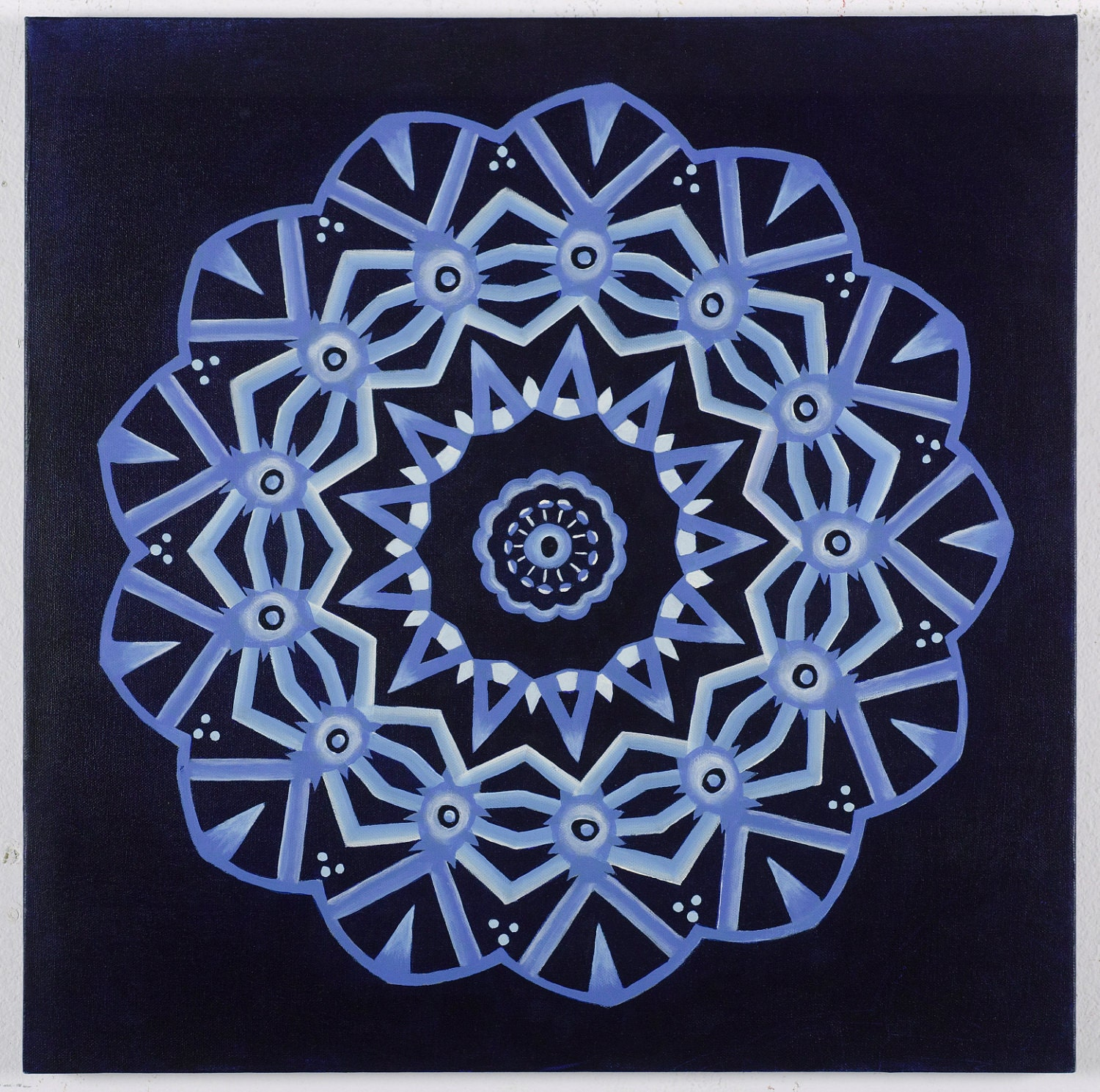 items similar to cool blue wheel mandala original acrylic. Black Bedroom Furniture Sets. Home Design Ideas