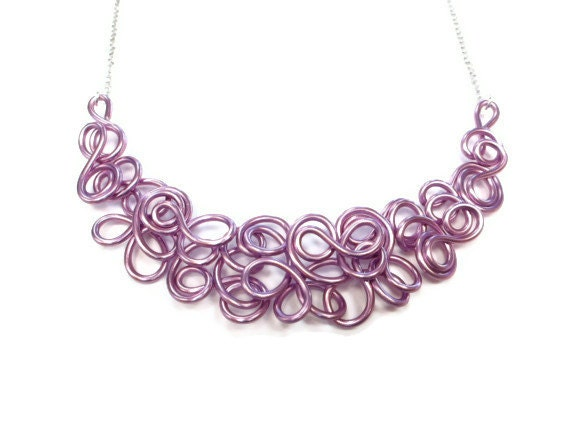 Lilac Wire Bib Necklace Spring Purple Unique Modern Jewelry - elbowsdesigns