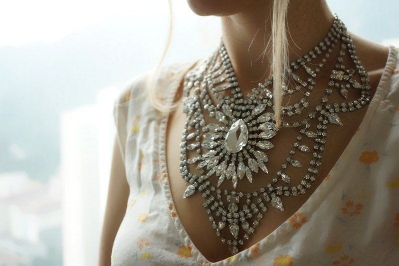 Madame Bovary - Stunning crystal clear swarovski rhinestones statement necklace - made to order
