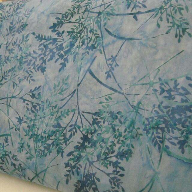 Batik Fabric from Bali - Mimosa Spray - Aquarius - 1 YD - FabricFascination