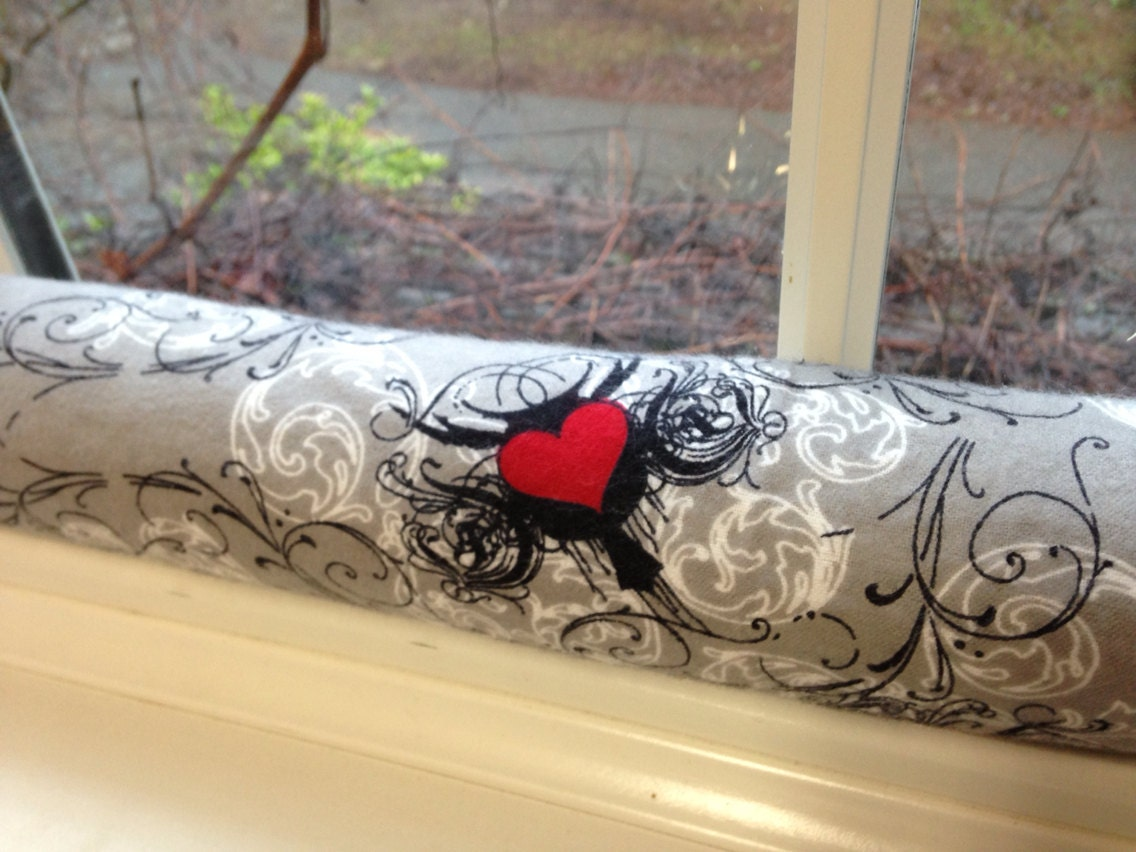 Door Draft Stopper Cedar Filled Insect Repellent Gray Hearts Swirls - GoneKnitting