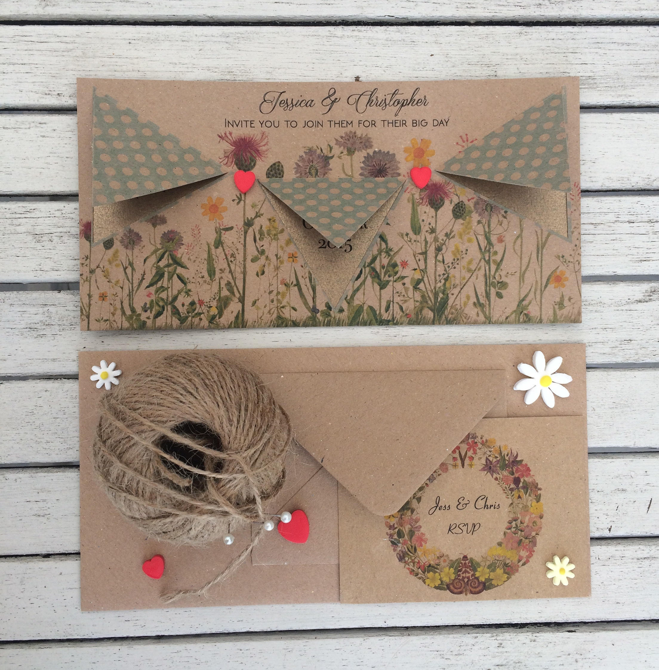 Vintage floral invite  Blue bunting wedding invite cards  Rustic country wedding invitation   RSVP cards