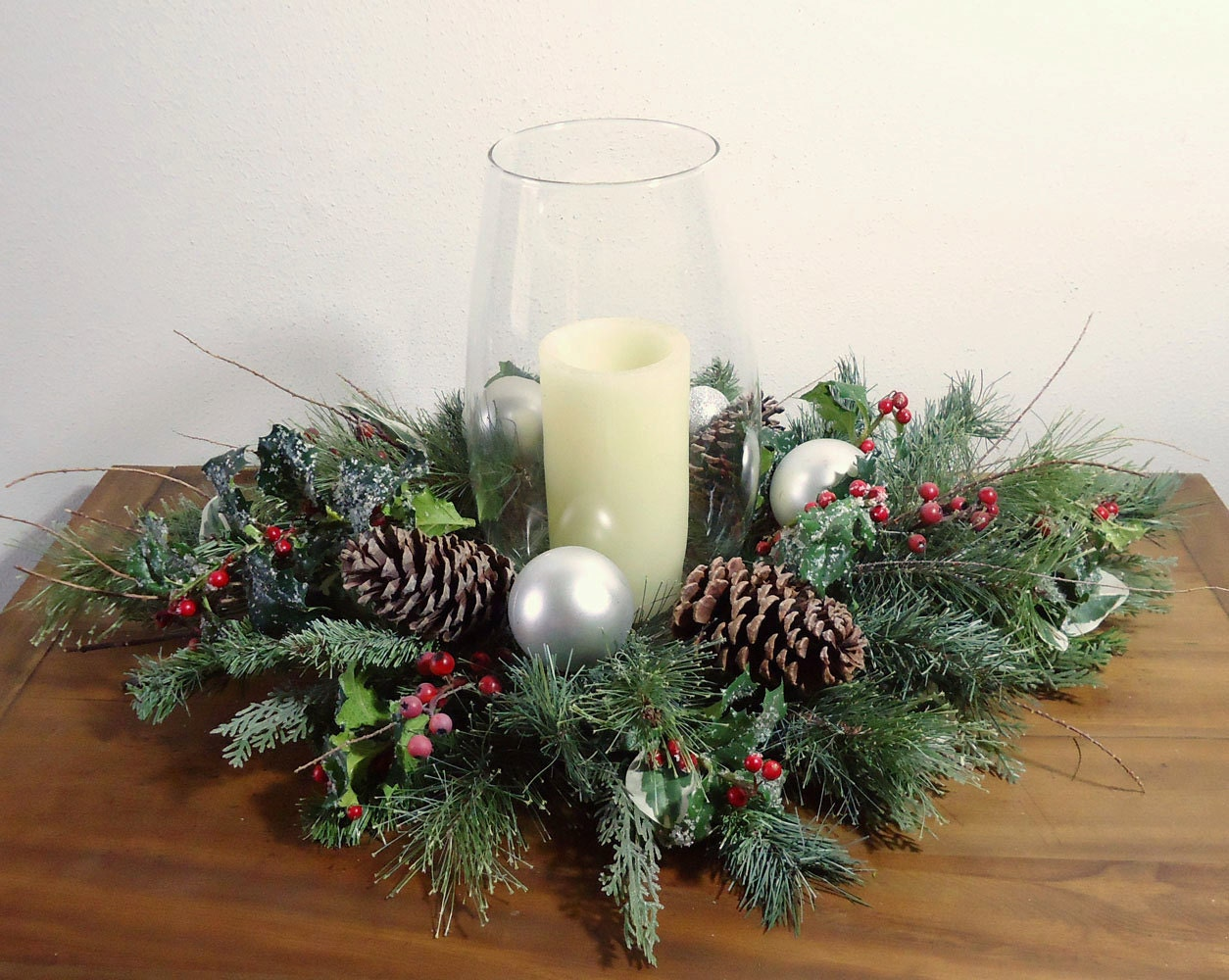 Christmas centerpiece frosty winter by aprilhilerdesigns