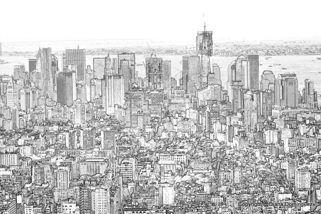 Love nyc aerial view of new york city view sketch 8x10 drawing