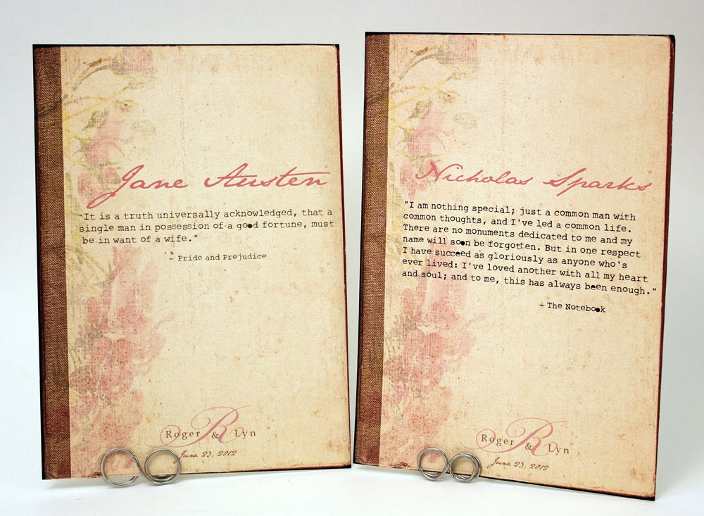 Old Book Cover Quote : Romantic quotes vintage book cover table cards by