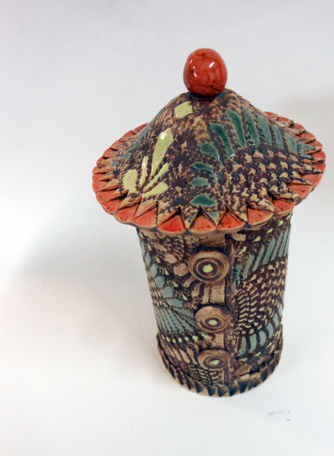 Fancy Lidded Stoneware Jar - Uturn