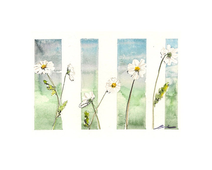 "Watercolor print: ""Six daisies"", by estudio arbitrario - estudioarbitrario"
