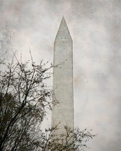 Washington Monument Photograph - gray grey white Washington DC 8x10 historical National Mall nations capital