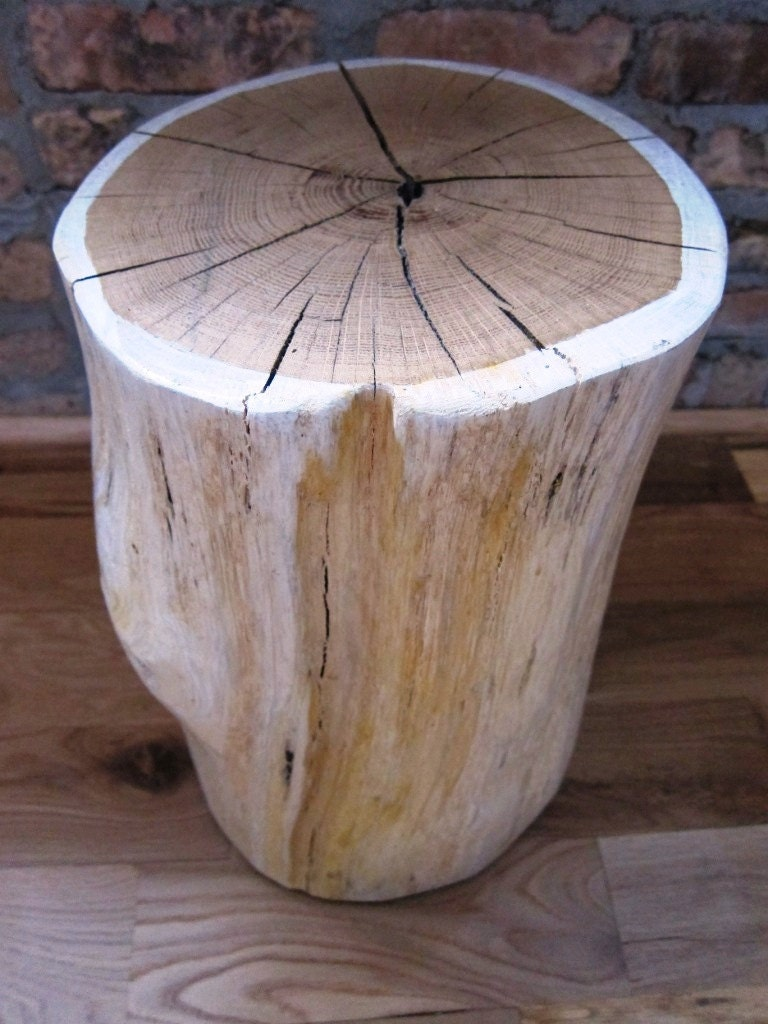 Items similar to white tree stump side table i on etsy