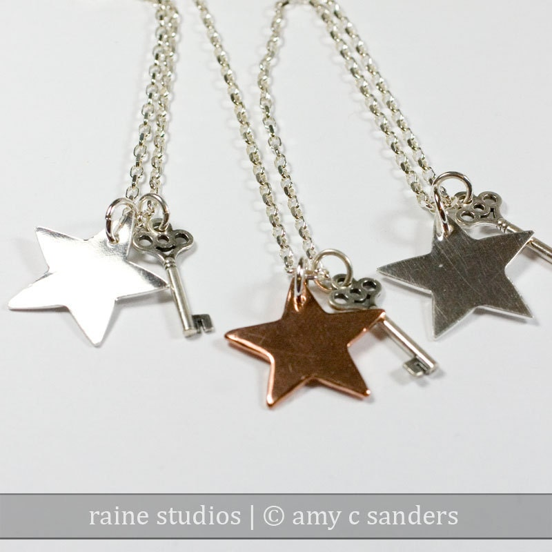 star and key necklaces