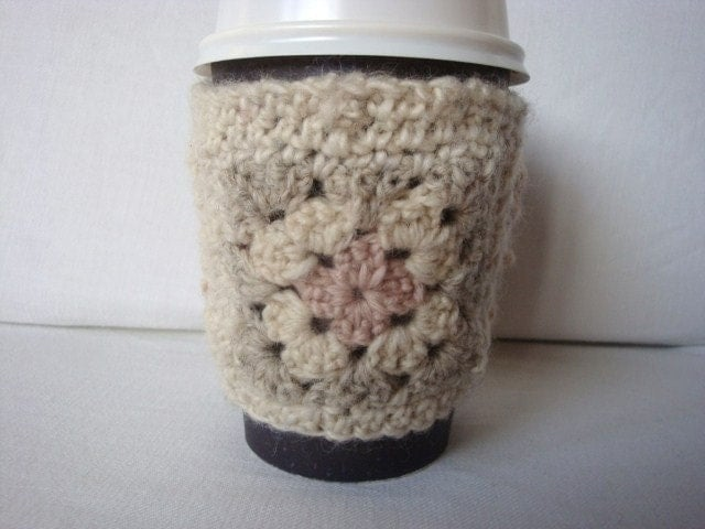 COFFEE CUP SLEEVE.. Granny Square Cosy / Sleeve for your takeaway coffee. Neutral colours - has very very homespun / rustic feel