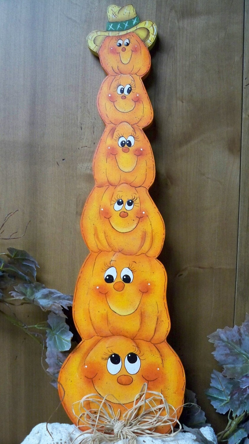 Painted Wooden Pumpkins For Halloween Decorations By