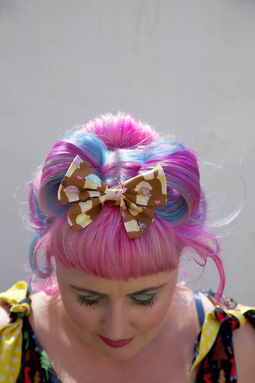 Small Ice Cream Hair Bow JoJo Bow Ice Cream Ice Cream Bow Small Bow Hair Bow Hair Accessory Hair Bows JoJo Bows Handmade Bow Hair